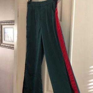Pants - Wide leg green satin